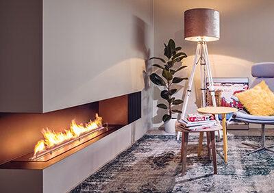 Photo d'une cheminée éthanol haut de gamme à deux faces - cheminée éthanol indoor